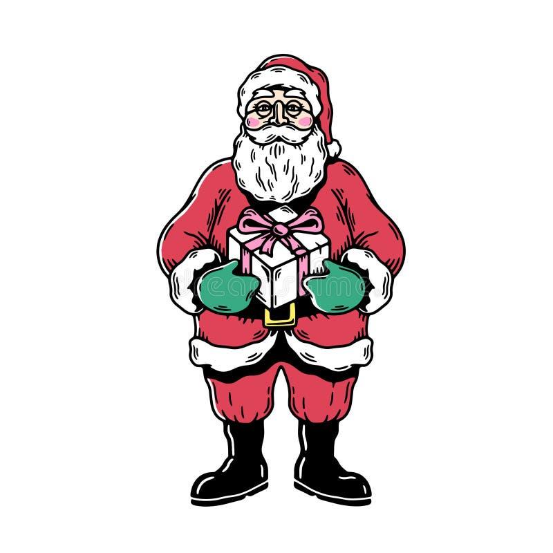 Papá Noel con el rectángulo de regalo stock de ilustración