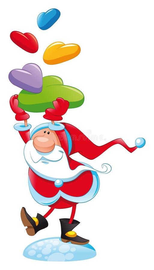 Papá Noel con el regalo stock de ilustración