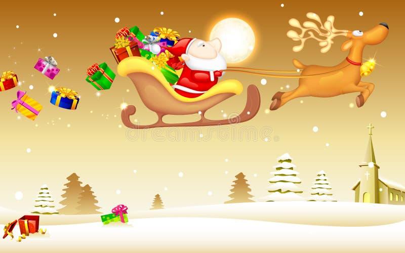 Papá Noel con el regalo de la Navidad en trineo stock de ilustración