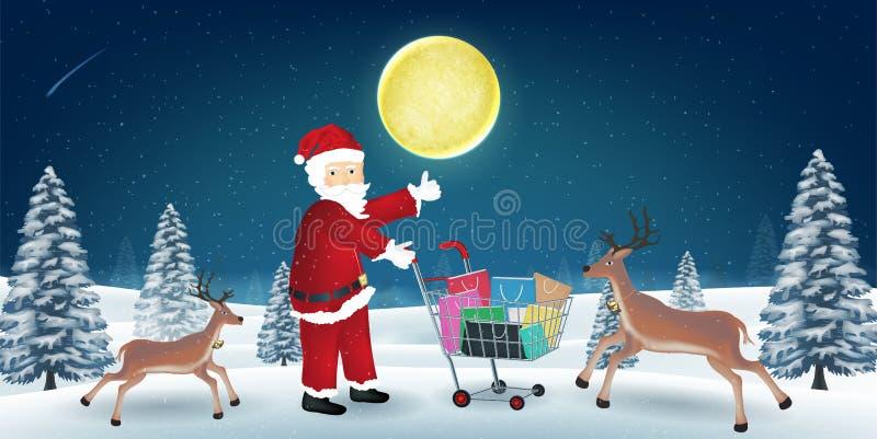 Papá Noel con el reno y el panier en el carro ilustración del vector