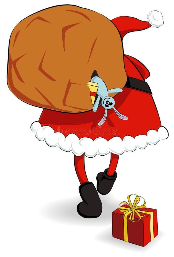 Papá Noel con el saco stock de ilustración