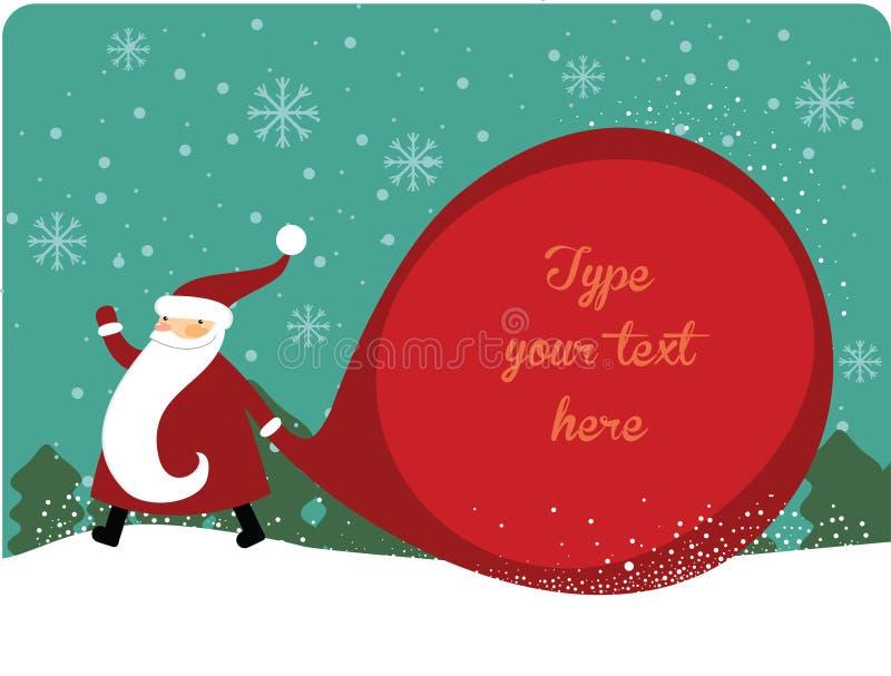Papá Noel con el saco enorme stock de ilustración