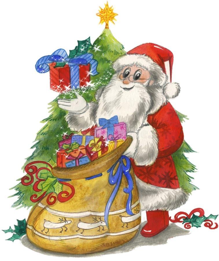 Papá Noel con el saco y el árbol ilustración del vector