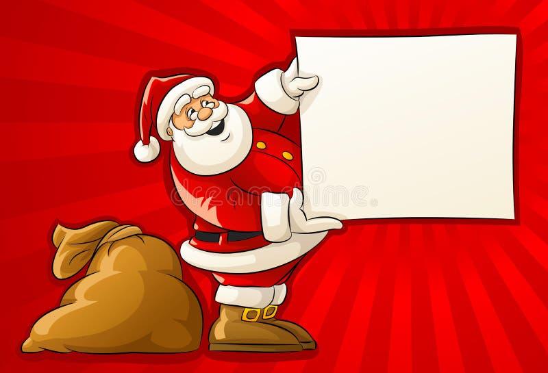 Papá Noel con el saco y el papel en blanco del saludo stock de ilustración
