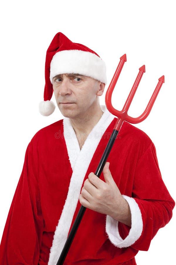 Papá Noel con el tridente imágenes de archivo libres de regalías
