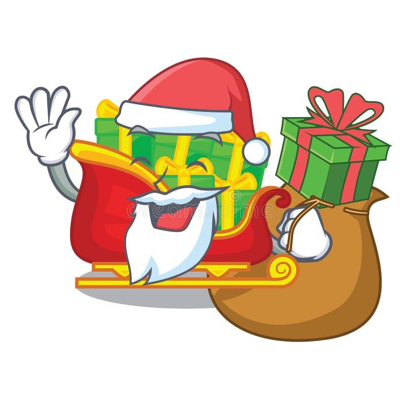 Papá Noel con el trineo de Papá Noel de la Navidad del regalo aislado en mascota ilustración del vector
