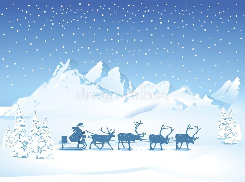 Papá Noel con el trineo por la tarde ilustración del vector