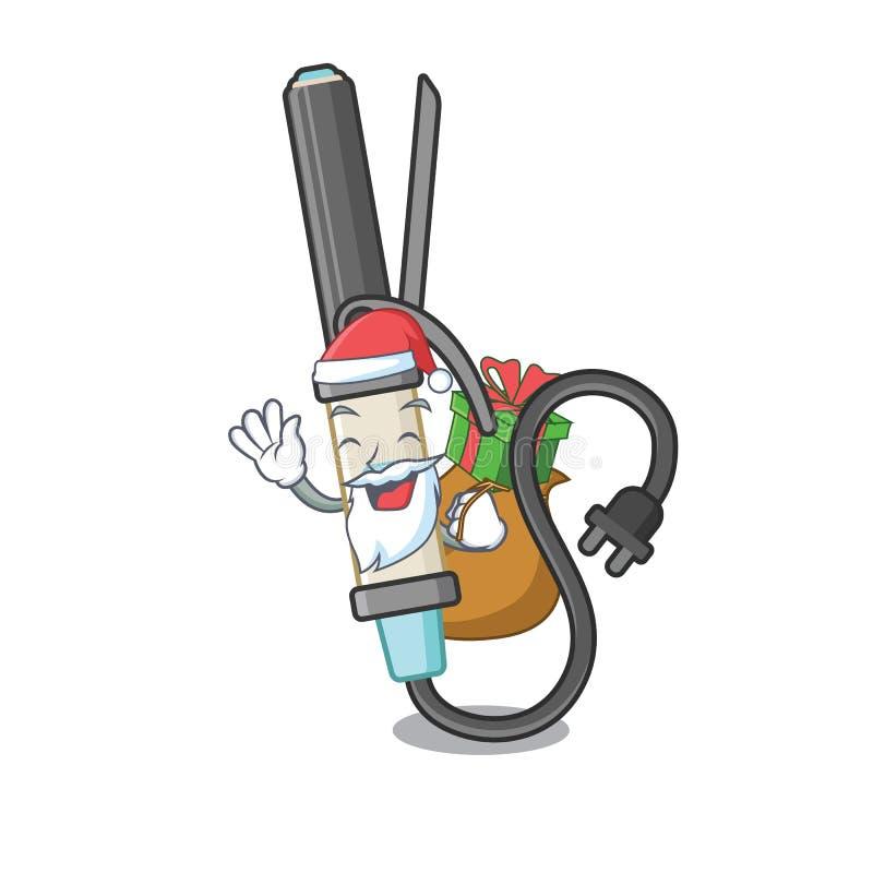 Papá Noel con hierro que se encrespa del regalo sobre carácter del tocador stock de ilustración