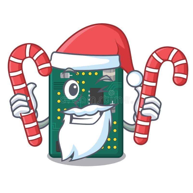 Pap? Noel con la placa de circuito del PWB del caramelo en la historieta libre illustration