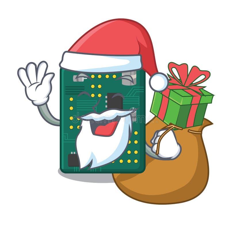 Pap? Noel con la placa de circuito del PWB del regalo en la historieta ilustración del vector