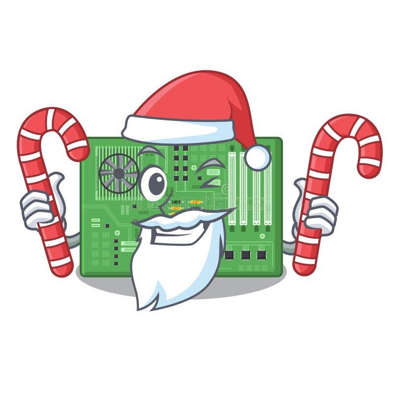 Papá Noel con la placa madre del juguete del caramelo en un bolso de la mascota libre illustration