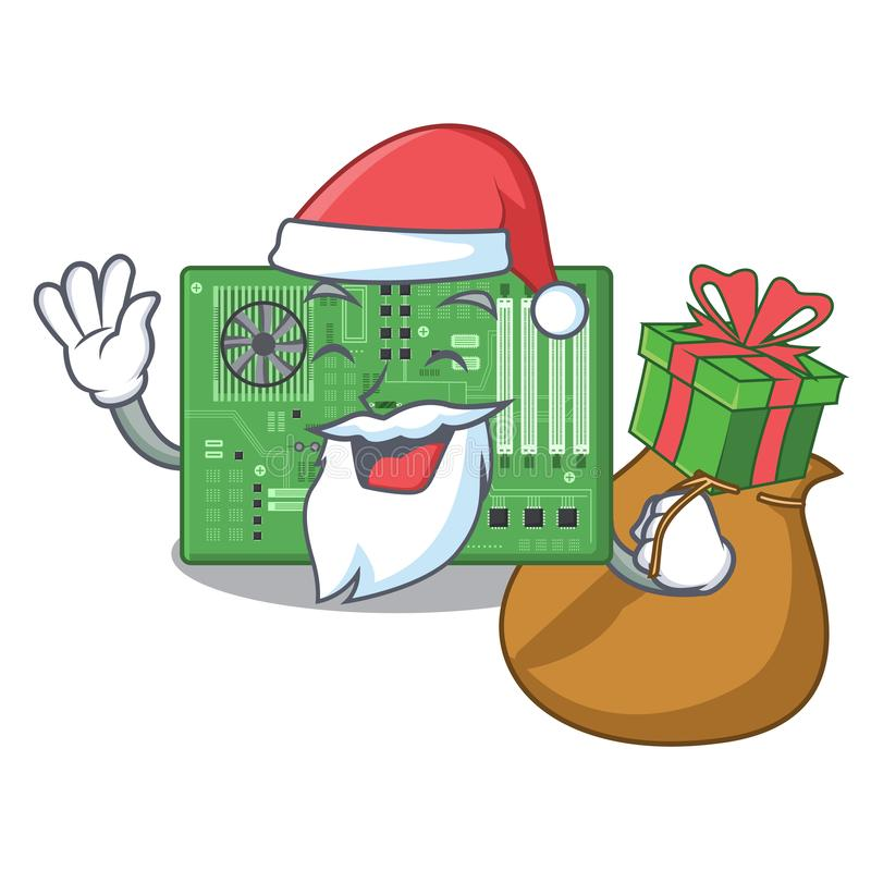 Papá Noel con la placa madre del juguete del regalo en un bolso de la mascota stock de ilustración