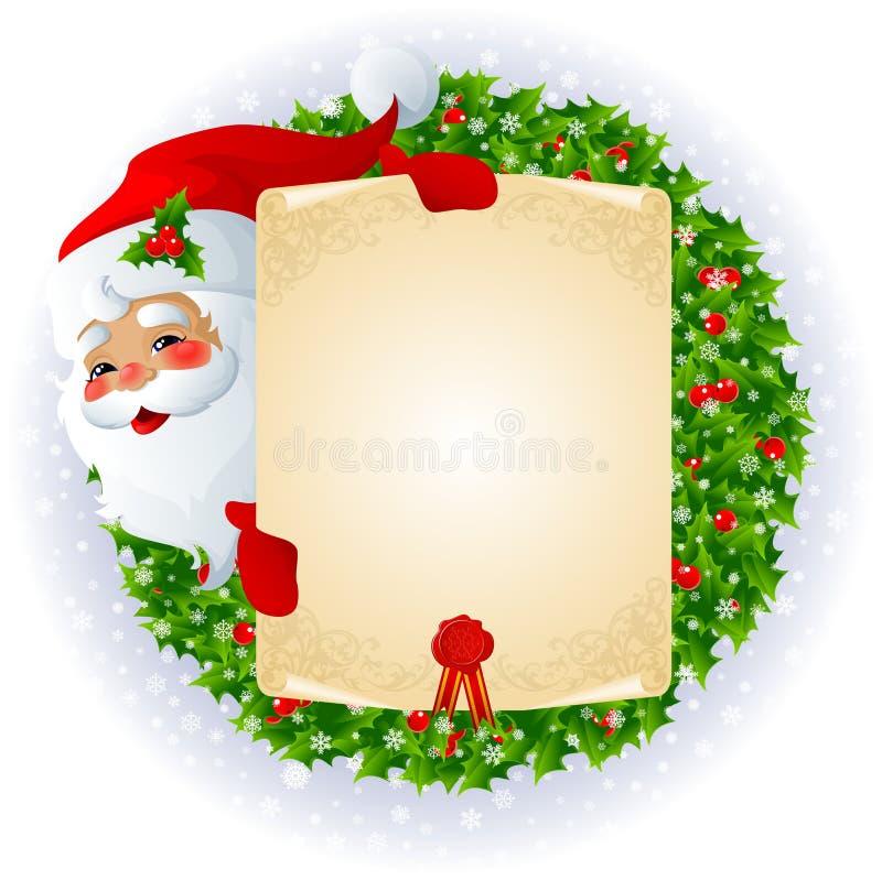 Papá Noel con la tarjeta de mensaje ilustración del vector