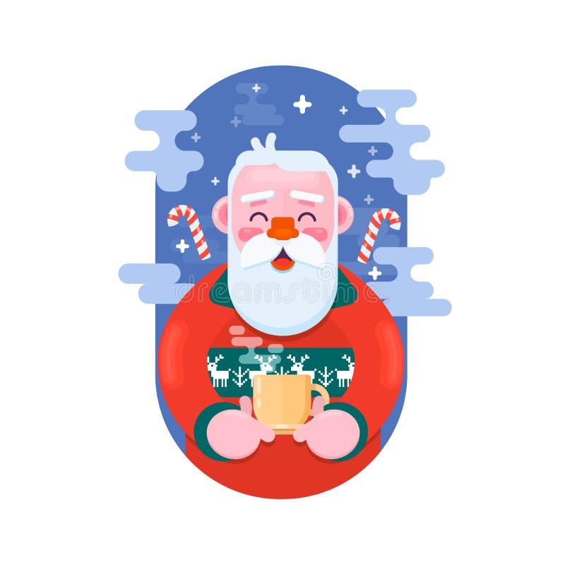 Papá Noel con la taza de café Ejemplo plano del vector stock de ilustración