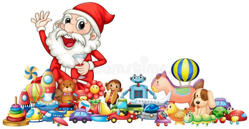 Papá Noel con las porciones de juguetes ilustración del vector