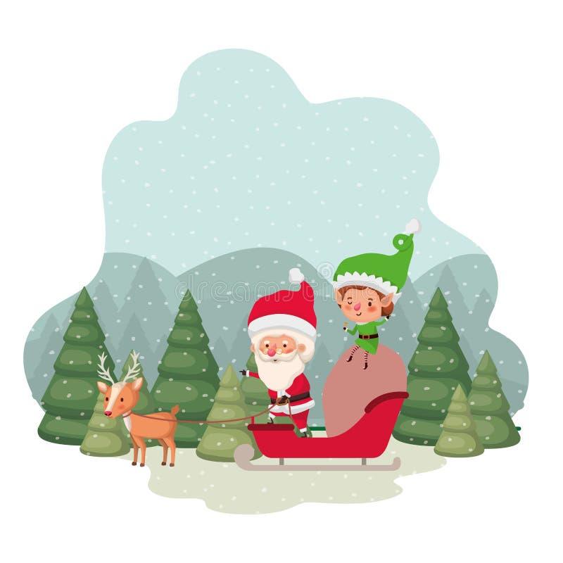Papá Noel con los duendes en trineo y los árboles de navidad con el carácter del avatar de la nieve que cae libre illustration
