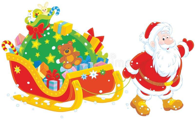 Papá Noel con los regalos stock de ilustración