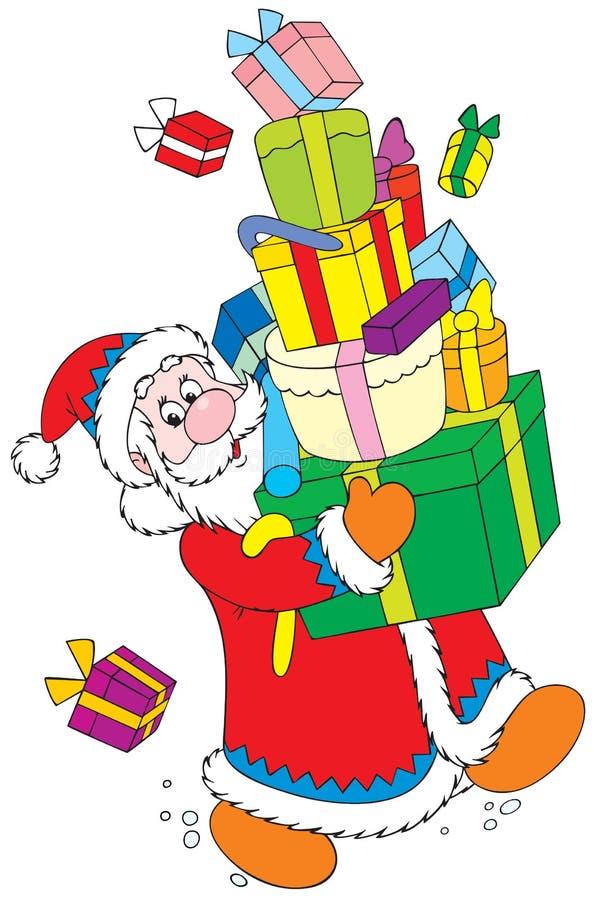 Papá Noel con los regalos de la Navidad stock de ilustración