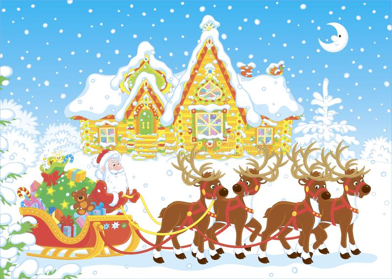 Papá Noel con los regalos en su trineo stock de ilustración