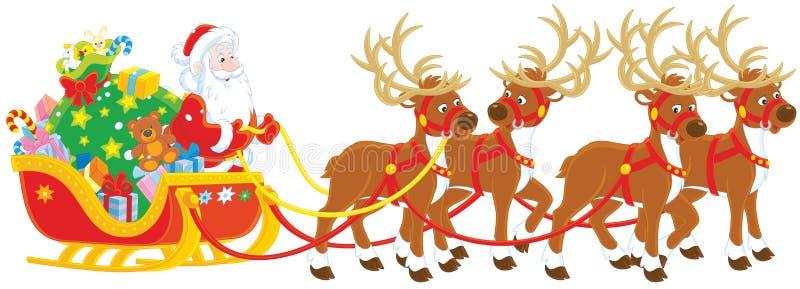Papá Noel con los regalos en su trineo ilustración del vector