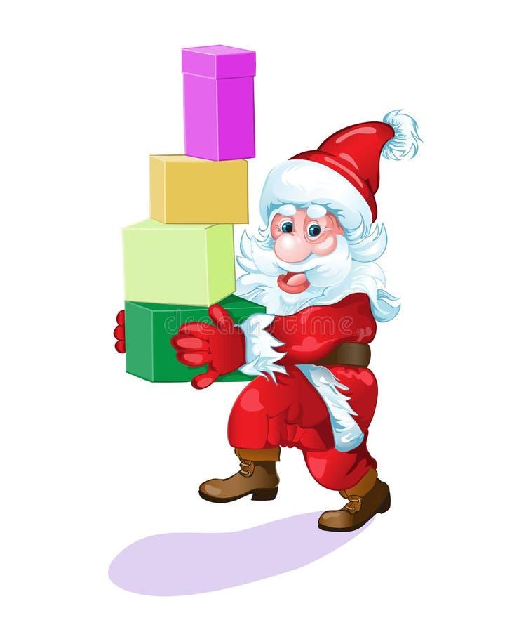 Papá Noel con los regalos se apresura para satisfacer a toda la gente ilustración del vector