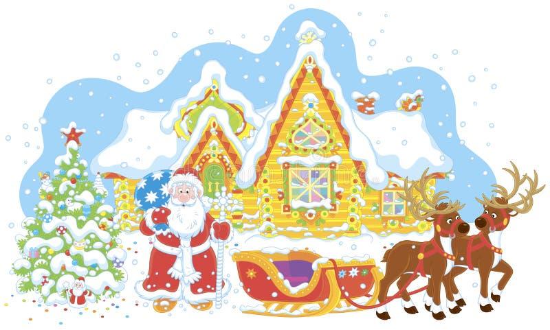 Papá Noel con los regalos y su trineo ilustración del vector
