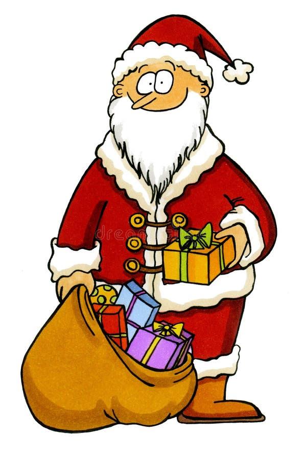 Papá Noel con un bolso lleno de presentes libre illustration
