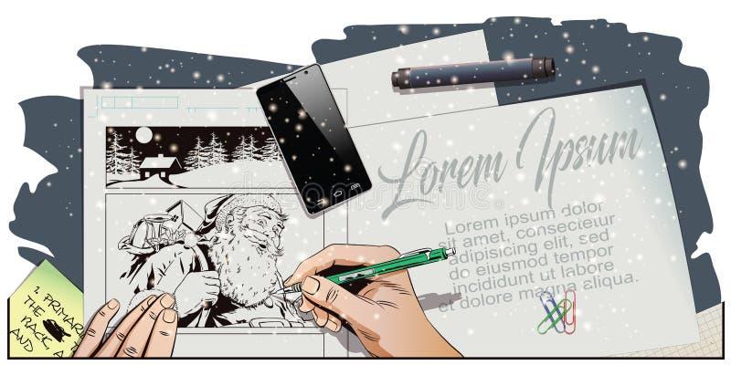 Papá Noel con un bolso lleno de presentes Imagen de las pinturas de la mano ilustración del vector