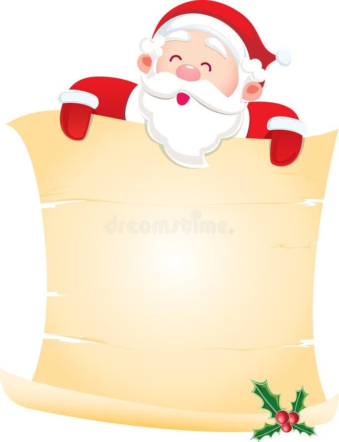 Papá Noel con un desfile de papel ilustración del vector