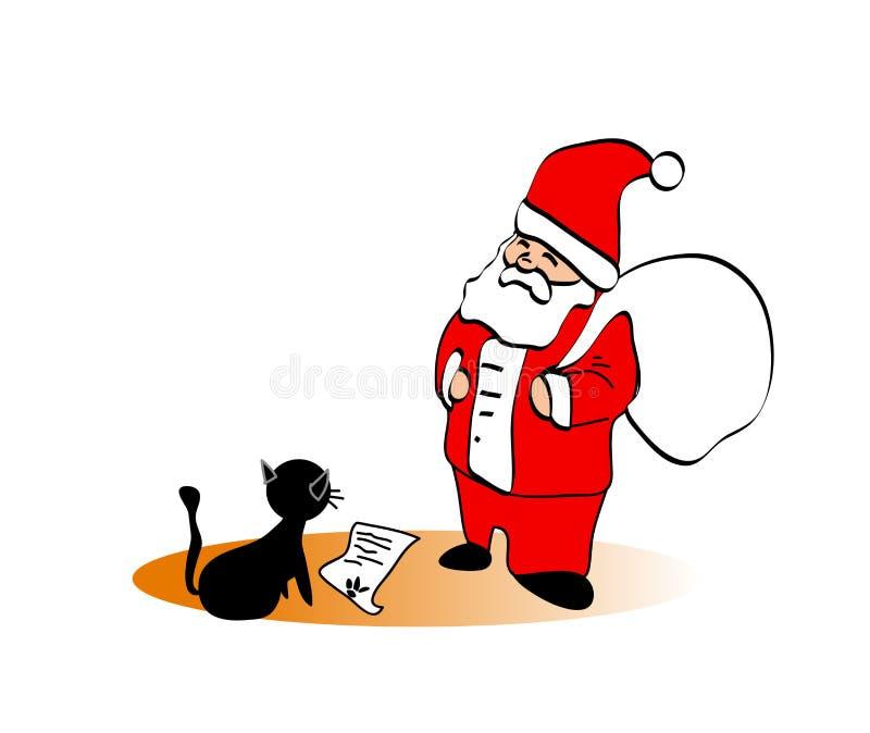 Papá Noel con un gato ilustración del vector