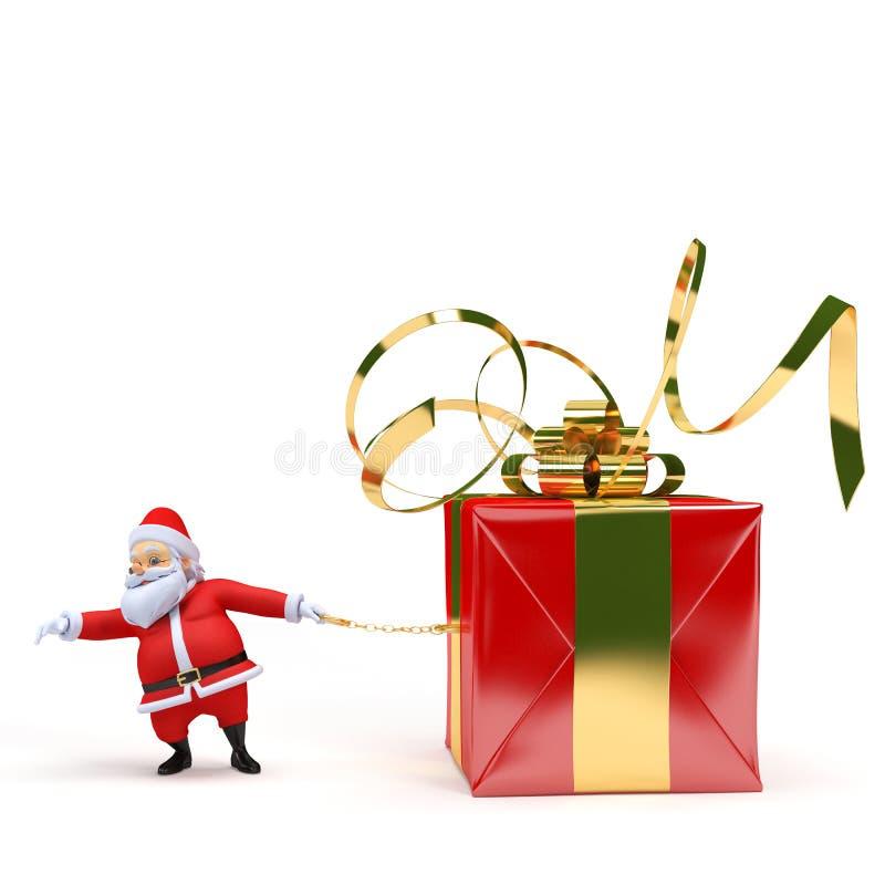Papá Noel con un presente stock de ilustración