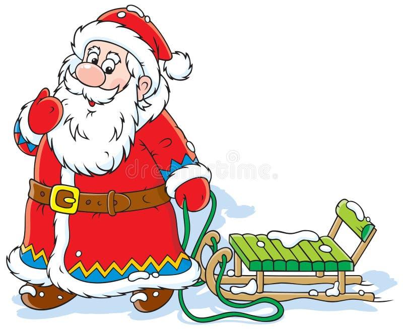 Papá Noel con un trineo stock de ilustración