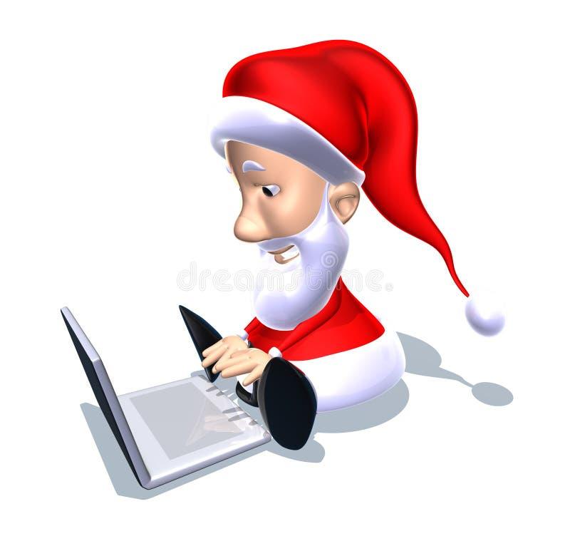 Papá Noel con una computadora portátil ilustración del vector