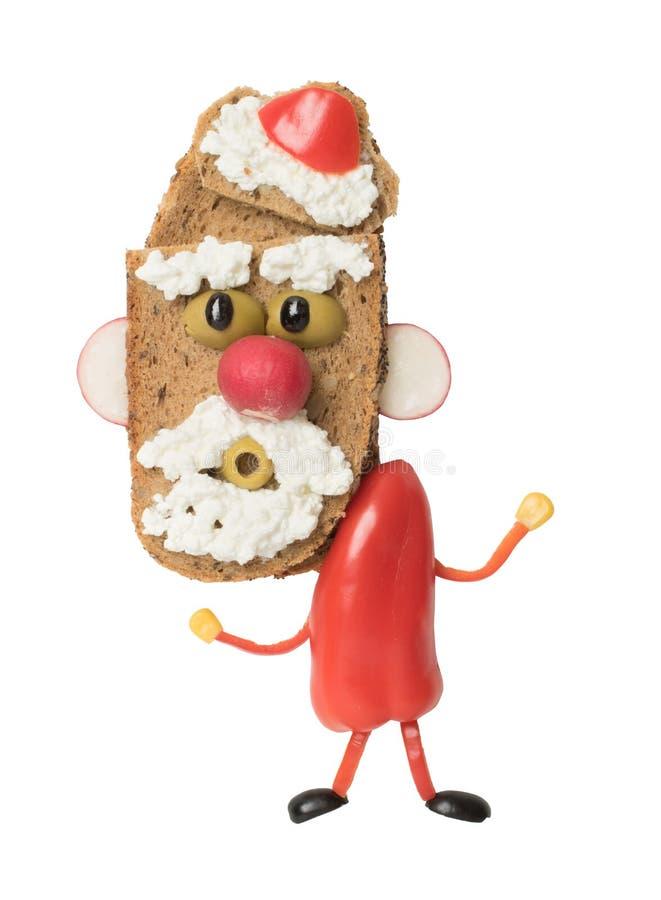 Papá Noel divertido hecho como bocadillo en el fondo blanco imágenes de archivo libres de regalías