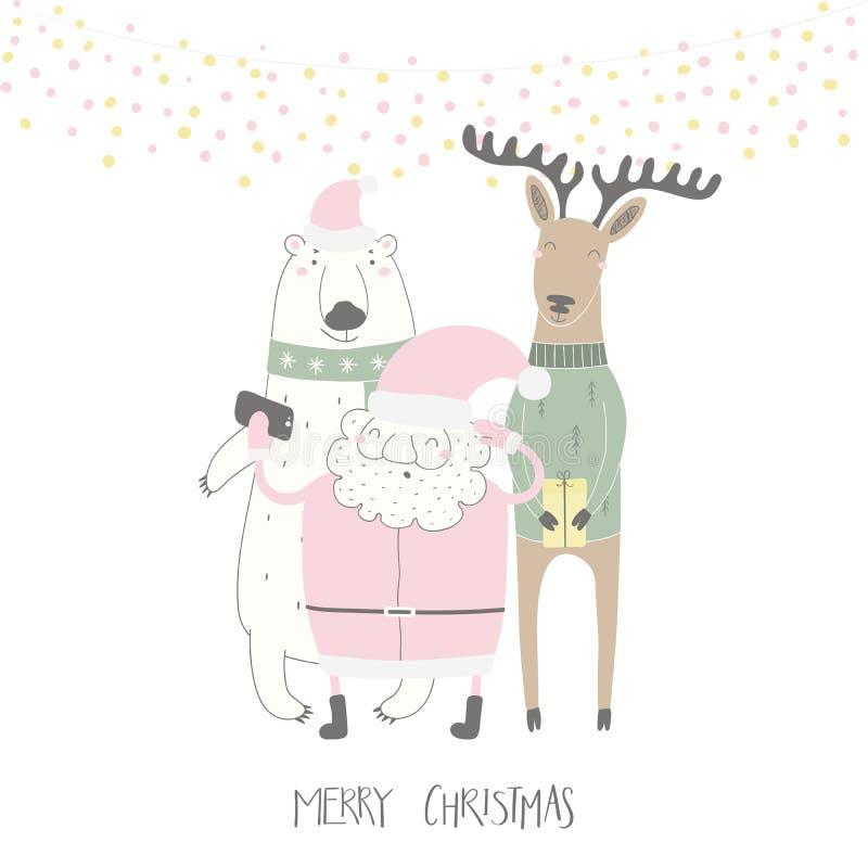 Papá Noel divertido, oso polar, tarjeta de Navidad del reno stock de ilustración