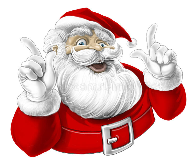 Papá Noel divertido que canta, riendo stock de ilustración