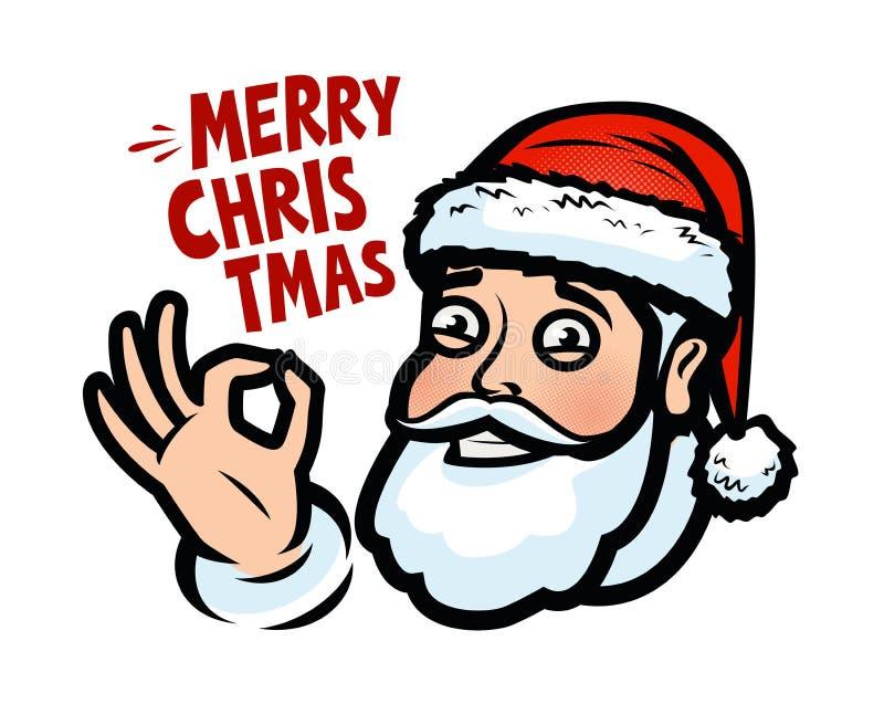 Papá Noel divertido Tarjeta de felicitación de la Navidad, bandera Ilustración del vector de la historieta stock de ilustración