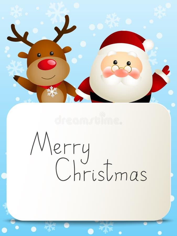 Papá Noel divertido y ciervos stock de ilustración