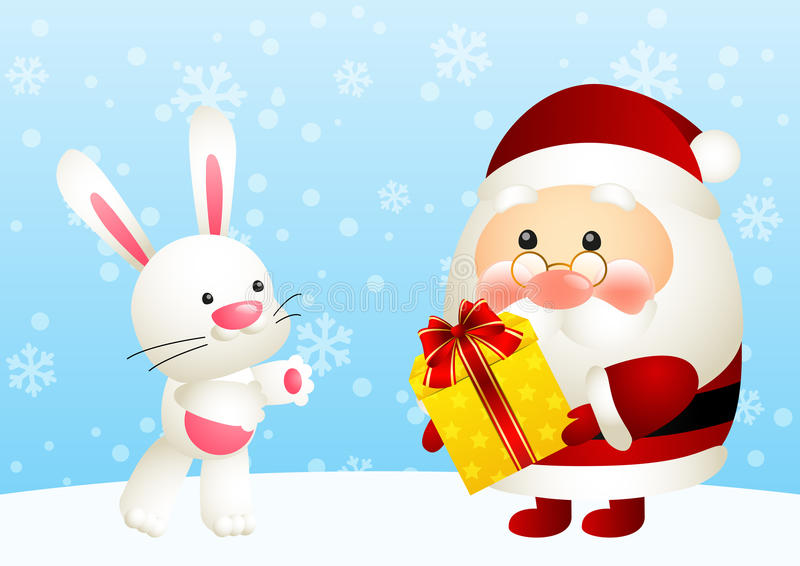 Papá Noel divertido y conejo libre illustration