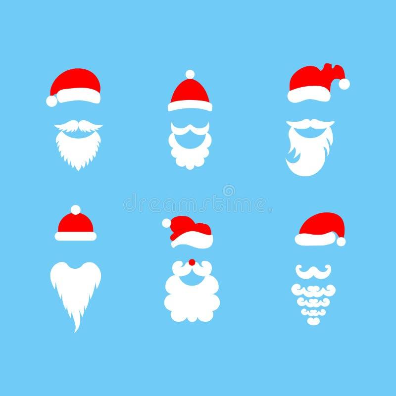Papá Noel elegante Sombreros y barbas Sistema de ejemplos a mano del vector stock de ilustración