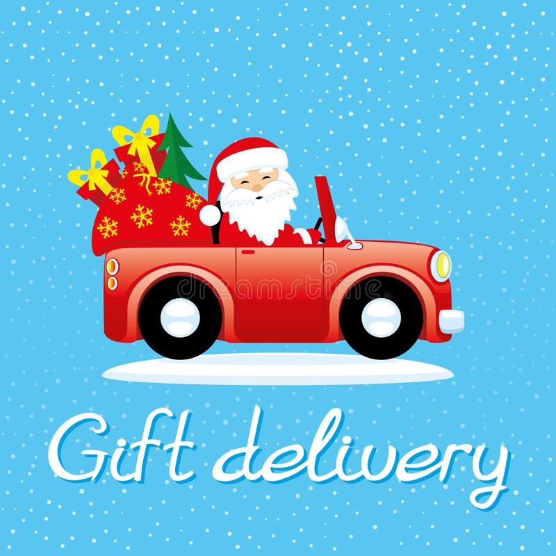 Papá Noel en el coche libre illustration