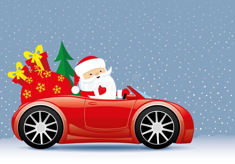 Papá Noel en el coche rojo libre illustration