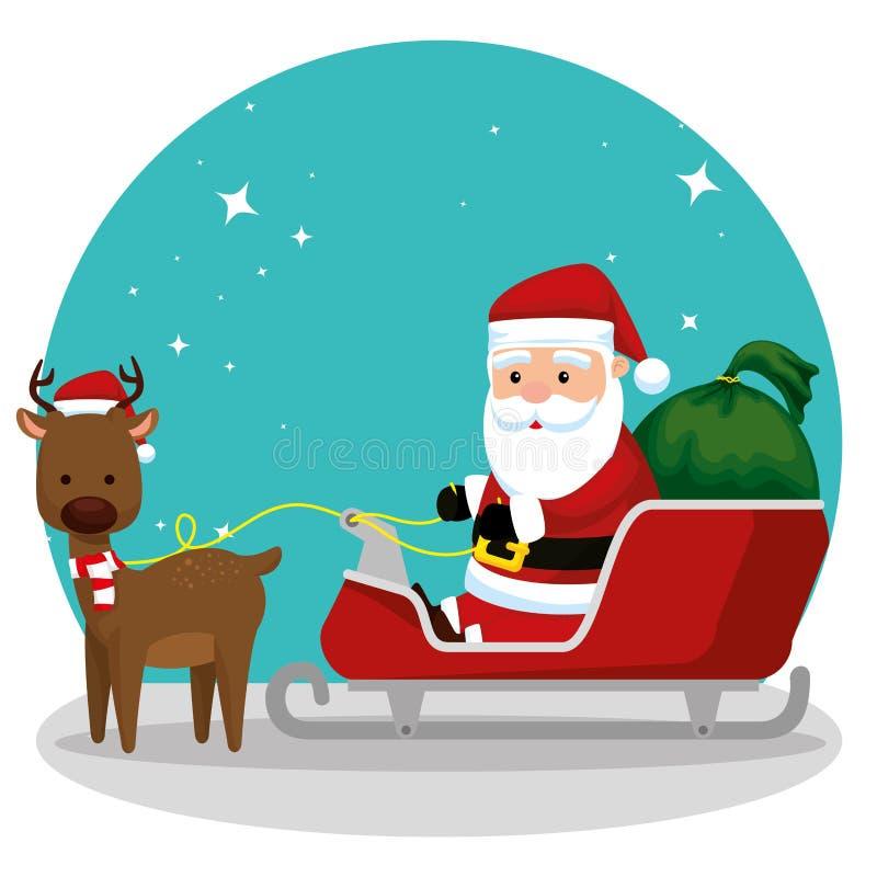 Papá Noel en el trineo con los regalos y los ciervos stock de ilustración