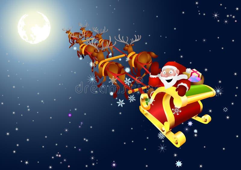 Papá Noel en el trineo de la nieve libre illustration