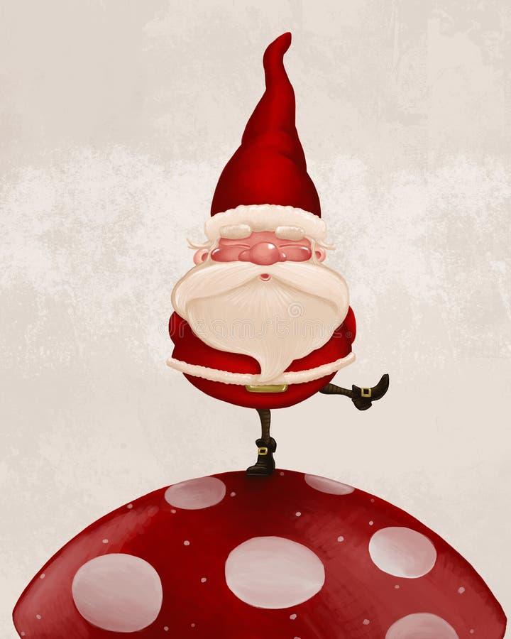 Papá Noel en hongo ilustración del vector
