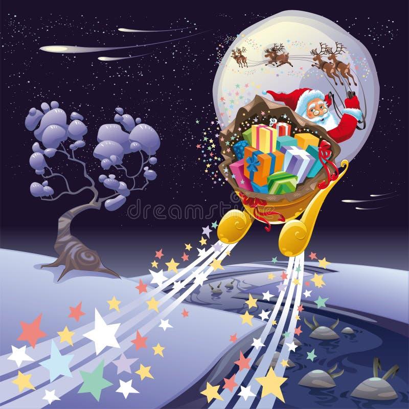 Papá Noel en la noche. stock de ilustración
