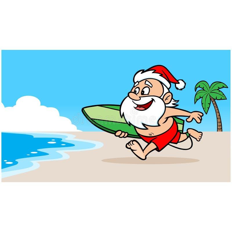 Papá Noel en la playa stock de ilustración