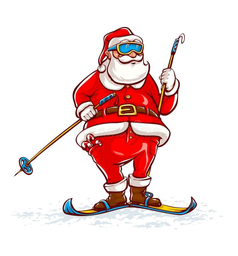 Download Papá Noel en los esquís stock de ilustración. Ilustración de estacional - 42441913