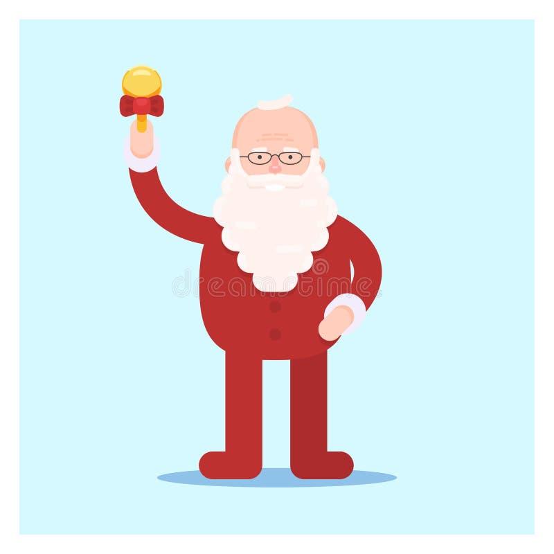Papá Noel en pijamas con una campana stock de ilustración