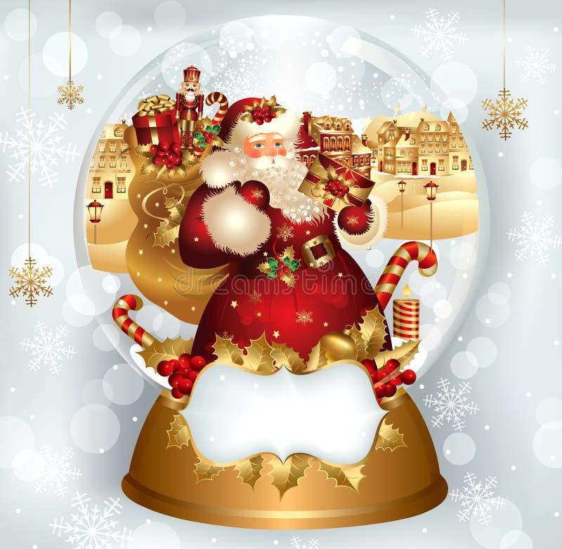 Papá Noel en snowglobe ilustración del vector